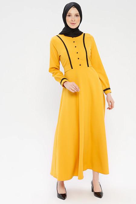 Ginezza Safran Düğmeli Elbise