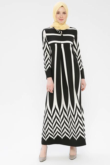 Ginezza Siyah Desenli Elbise