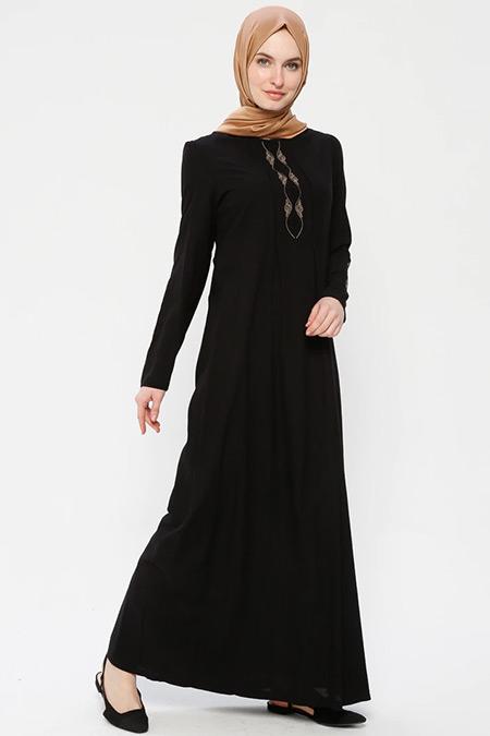 Ginezza Siyah Nakışlı Elbise