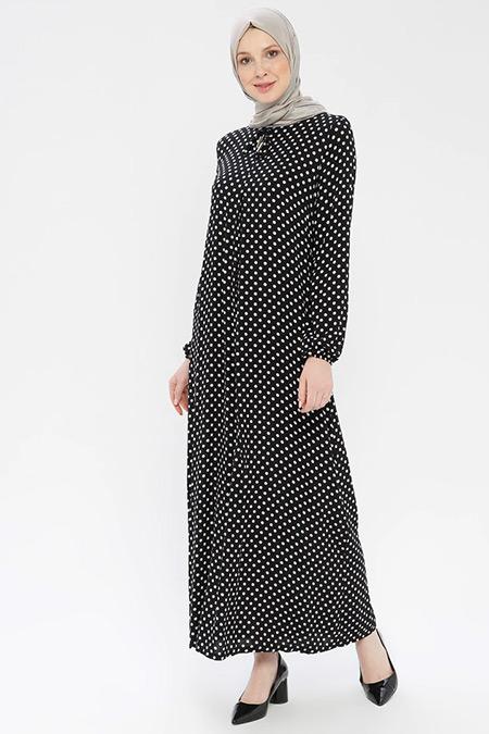 Ginezza Siyah Puantiyeli Elbise