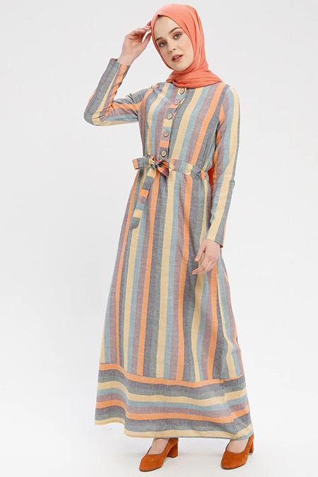 Ginezza Turuncu Çizgili Elbise