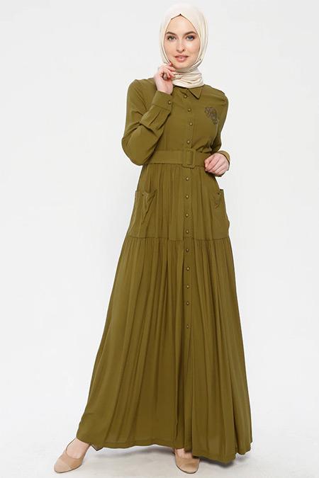 Ginezza Yağ Yeşili Drop Baskılı İncili Elbise