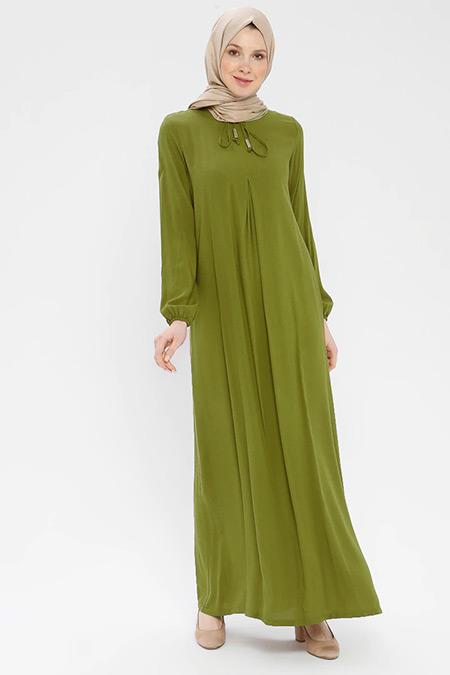Ginezza Yağ Yeşili Yakası Bağcıklı Elbise
