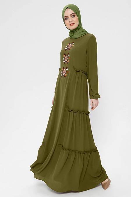 Ginezza Yeşil Nakışlı Elbise
