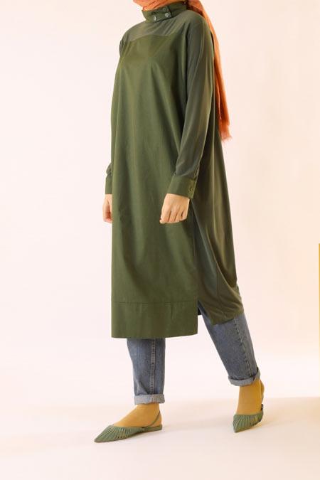 HE-QA Yeşil Poplin Detaylı Tunik