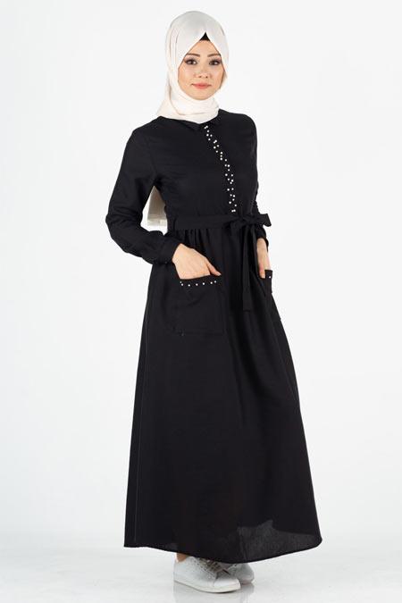 Siyah İncili Cep Detaylı Tesettür Elbise