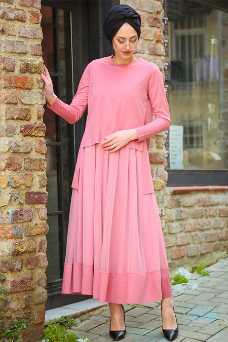 İnşirah Pudra Şifon Detaylı Elbise