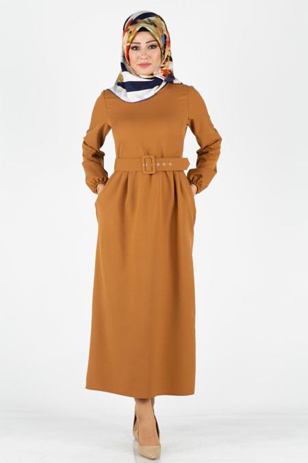 Kemerli Mira Tesettür Elbise