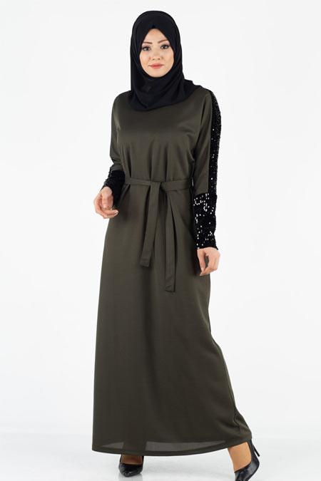 Kolları Payetli Kuşaklı Tesettür Elbise