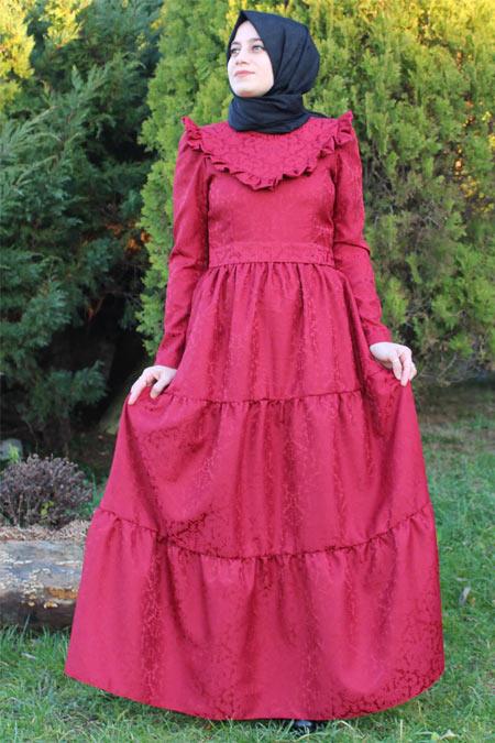 Kübra Biriktir Bordo Güz Brokar Elbise