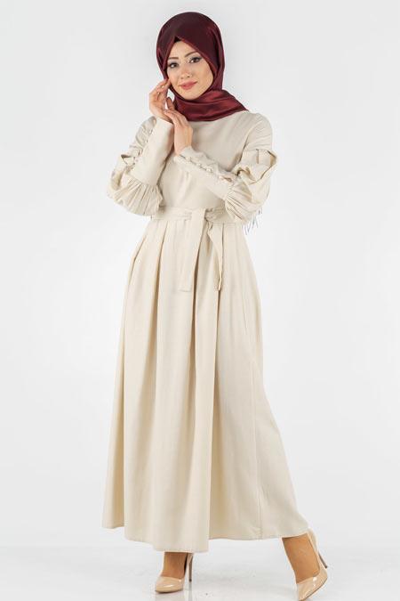 Kuşaklı Tesettür Elbise
