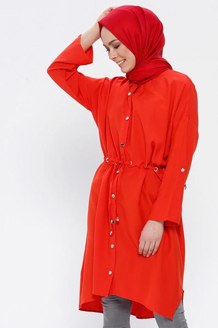 Loreen By Puane Kırmızı Düğmeli Beli Bağcıklı Tunik