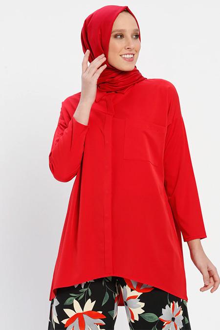 Loreen By Puane Kırmızı Gizli Düğmeli Tunik