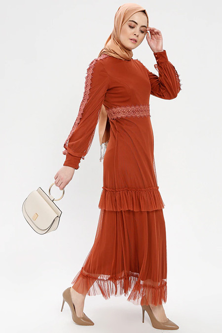 Loreen By Puane Kiremit Güpür Detaylı Tüllü Elbise