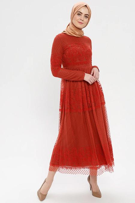 Loreen By Puane Kiremit Kadife Detaylı Tüllü Elbise