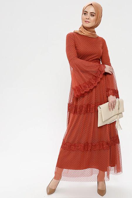 Loreen By Puane Kiremit Tüllü İspanyol Kol Elbise