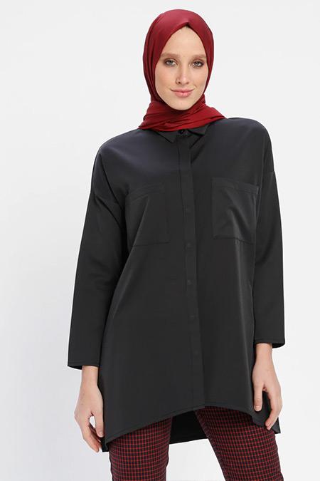 Loreen By Puane Siyah Cep Detaylı Gizli Düğmeli Tunik