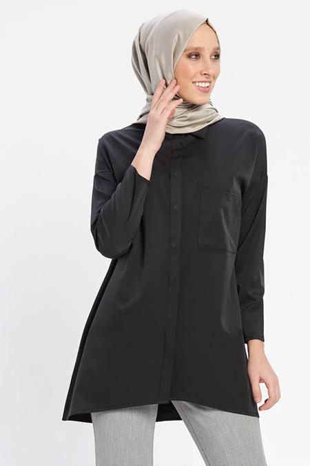 Loreen By Puane Siyah Gizli Düğmeli Tunik