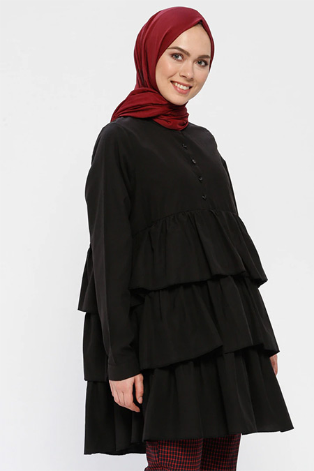 Loreen By Puane Siyah Volan Detaylı Tunik