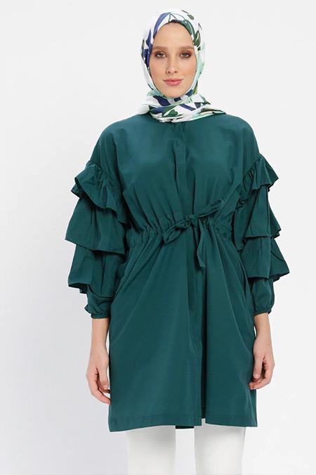 Loreen By Puane Yeşil Kolları Volan Detaylı Tunik