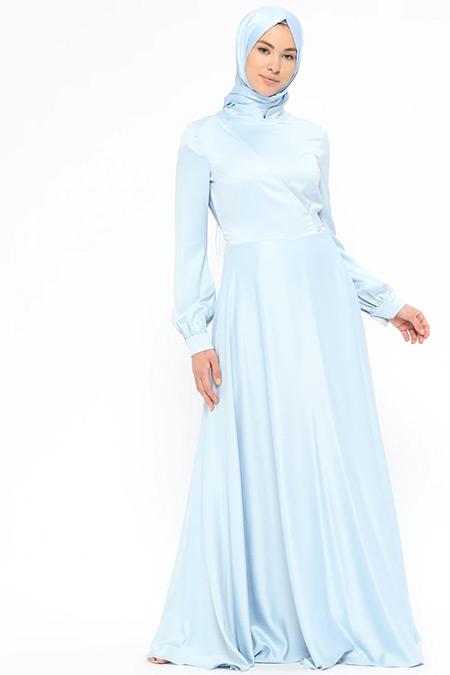 Minel Aşk Mavi Anvelop Saten Elbise