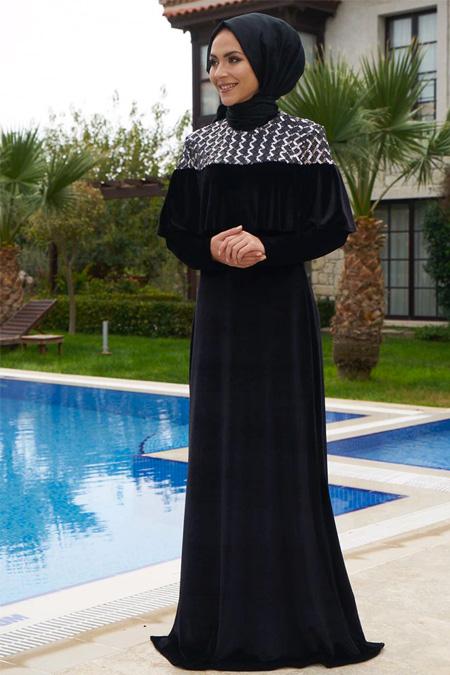 Minel Aşk Siyah Kadife Nergis Elbise