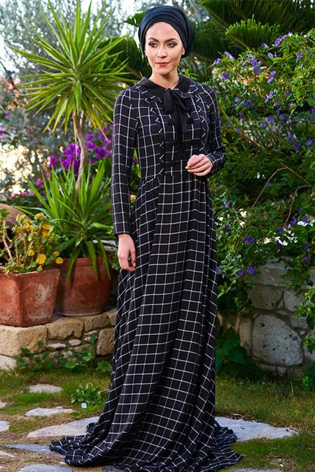 Minel Aşk Siyah Karo Elbise