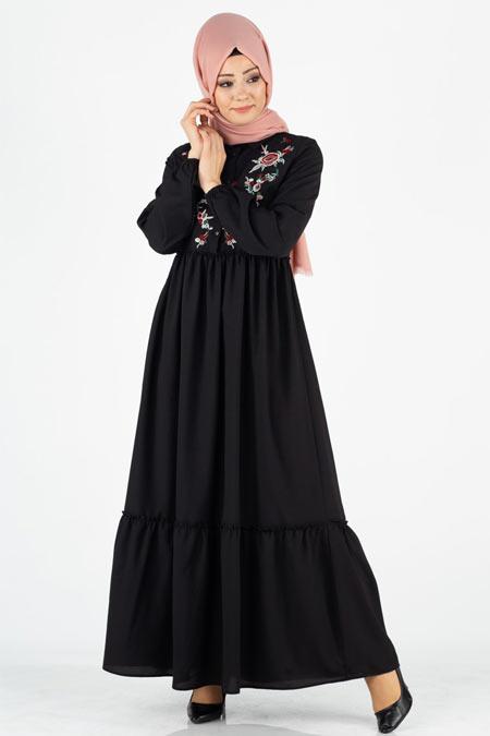 Nakışlı Düğmeli Tesettür Elbise
