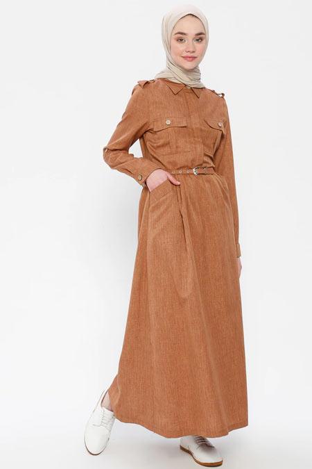 Panaline Camel Kemerli Cep Detaylı Elbise