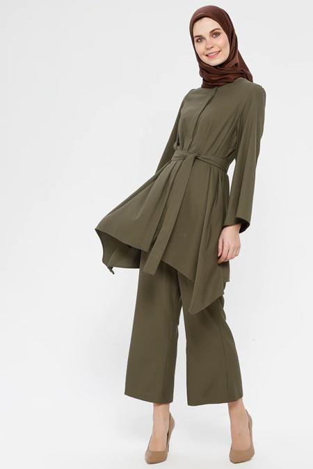 Panaline Haki Tunik & Pantolon İkili Takım