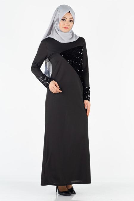 Payetli Tesettür Elbise