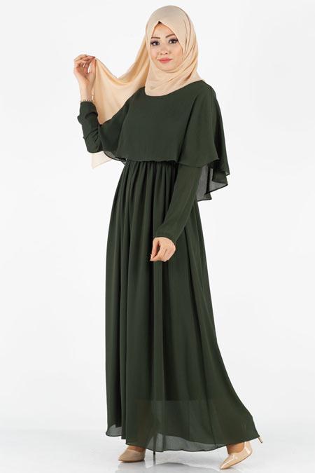 Pelerinli Tesettür Elbise
