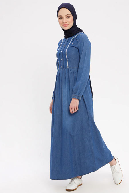 Pink Lady`s Kot Mavisi Önü İncili Düğmeli Elbise