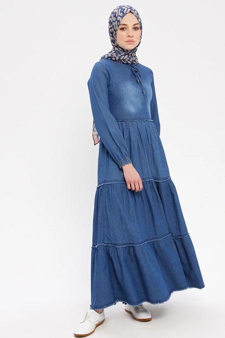 Pink Lady`s Kot Mavisi Volanlı Denim Elbise