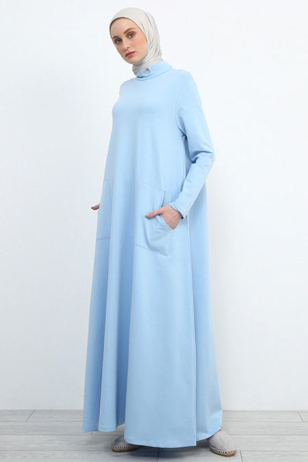 Refka Bebe Mavisi Kuş Gözü Detaylı Cepli Elbise