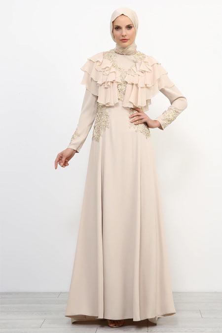 Refka Bej Dantel Detaylı Volanlı Abiye Elbise