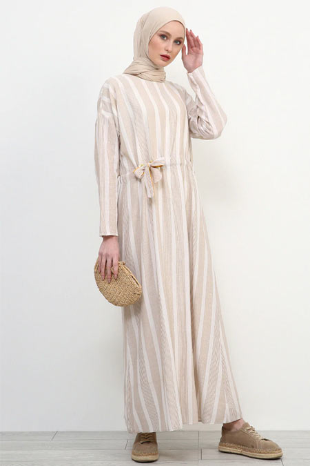 Refka Bej Doğal Kumaşlı Çizgili Elbise
