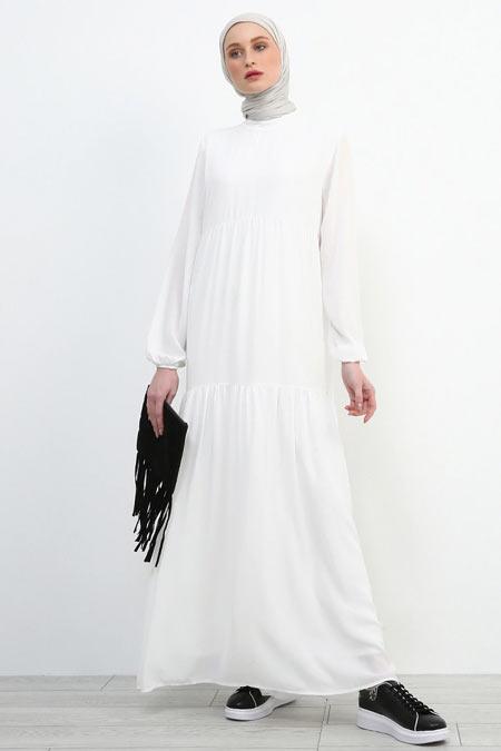 Refka Beyaz Kol Ucu Lastikli Elbise