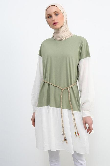 Refka Çimen Yeşili Hasır Kuşaklı Tunik