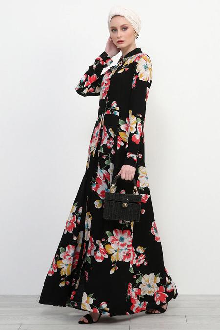 Refka Siyah Doğal Kumaşlı Elbise