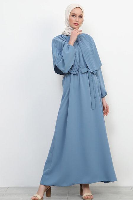 Refka İndigo Piliseli Elbise