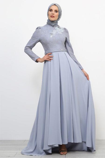 Refka Mavi Dantel Detaylı Taşlı Abiye Elbise