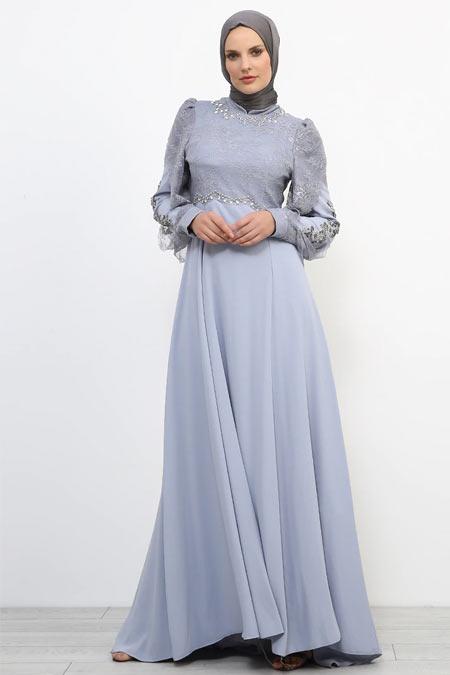 Refka Mavi Gri Dantel Detaylı Taşlı Abiye Elbise