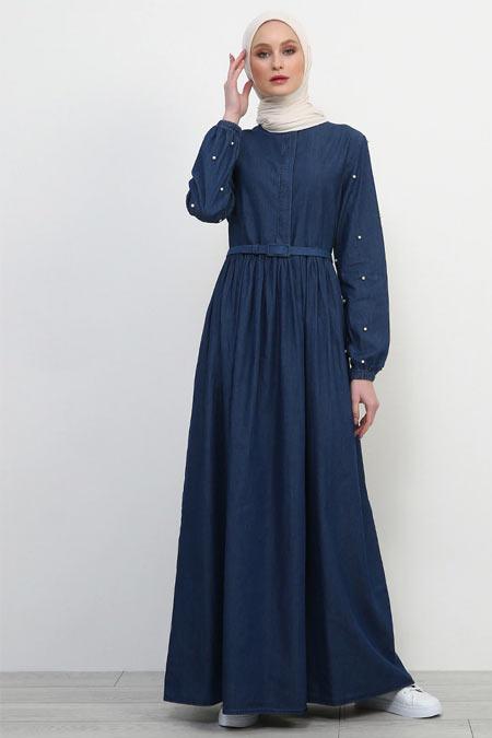 Refka Mavi Kolları İncili Kot Elbise