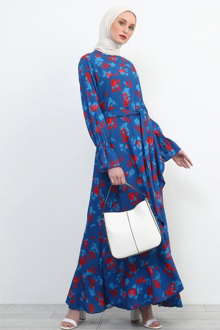 Refka Mavi Kolları Volanlı Elbise
