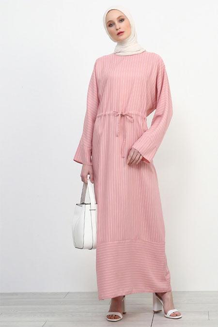 Refka Pembe Beli Bağcıklı Çizgili Elbise