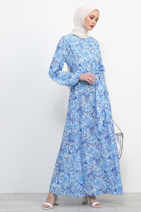 Refka Saks Desenli Elbise