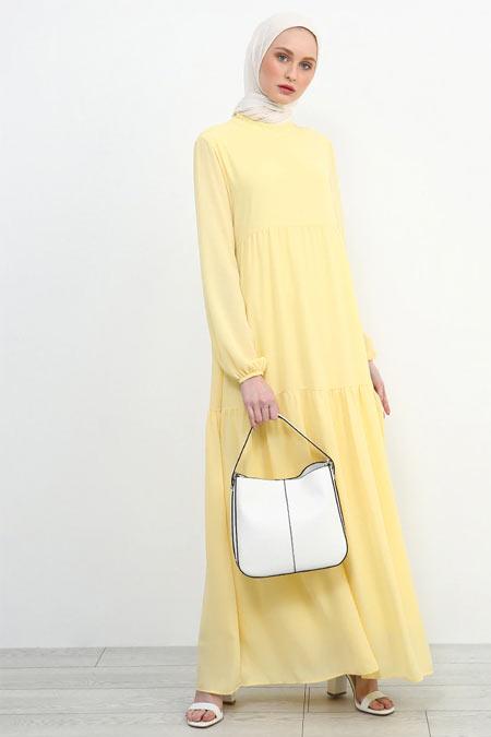 Refka Sarı Kol Ucu Lastikli Elbise