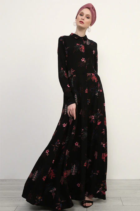 Refka Siyah Doğal Kumaşlı Gizli Düğmeli Elbise
