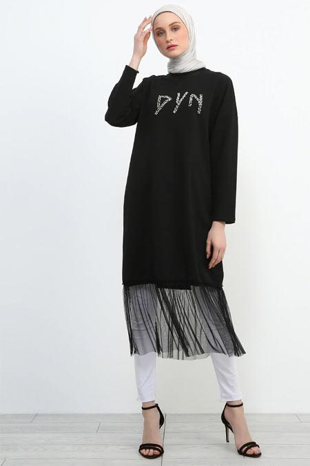Refka Siyah Eteği Tüllü Tunik